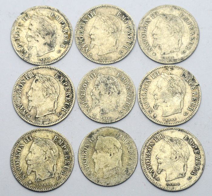 France - 20 Centimes 1864, 1866, 1867 Napoleon III (9 coins) - Silver