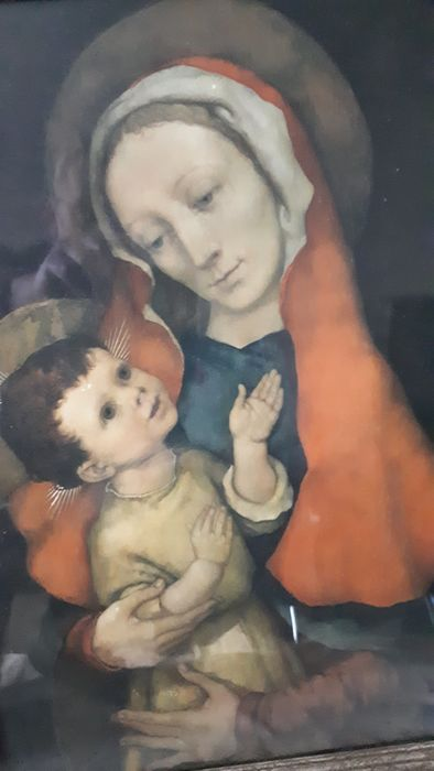 Ebulliometer, religious image maria with kinderke jesus. (1) - paper / wood / glass. - 1938