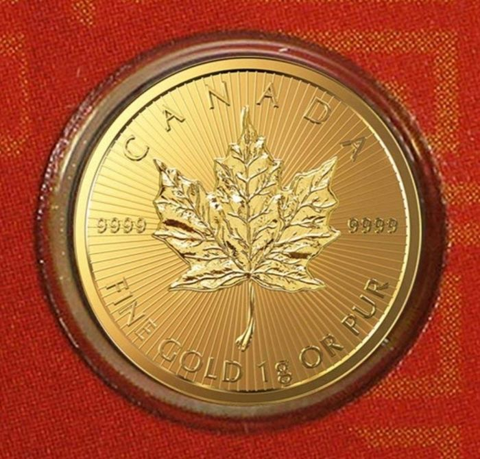 Canadá - 50 cents 2019, ROYAL CANADIAN MINT, Maplegram red, Sealed and Numbered. - Ouro