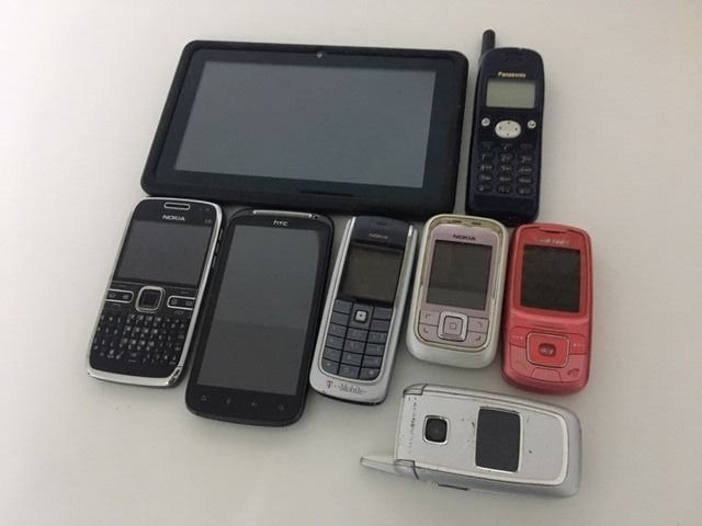 7 mobile phones and 1 tablet. - Tablet