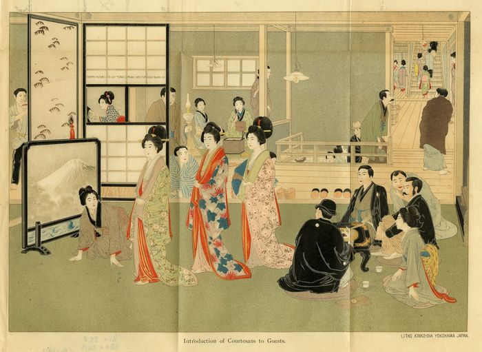 Kinko-Sha - Antique Japanese Lithograph - Introduction of courtesans to guests in a Japanese brothel.