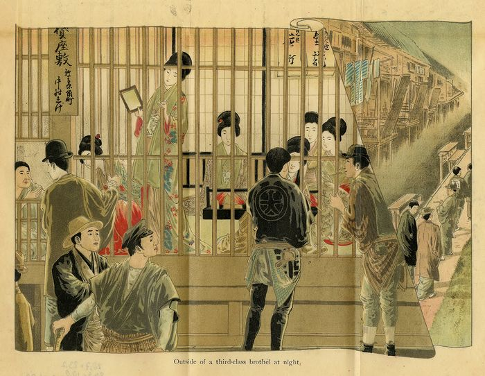 Kinko-Sha - Antique Japanese Lithograph - Outside of a third-class Tokio brothel at night-Japanese prostitutes.