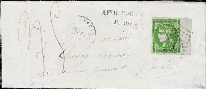 Frankrijk 1870 - Extremely rare, Bordeaux, 5 centimes green alone on a taxed letter bound for Paris. - Yvert 42