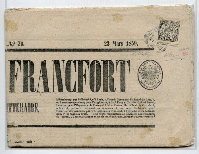 "Italienische antike Staaten - Modena 1859 - Postage due for newspapers - 10 cents black on newspaper ""Journal de Francfort"" - Sassone N. 5"