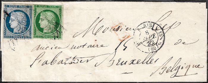 Frankrijk 1850 - Ceres 15 cents green and 25 cents blue on letter from Paris to Brussels - Yvert 2 - 4