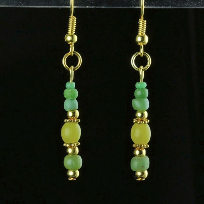 Ancient Roman Glass Earrings with green and yellow glass beads - (1)