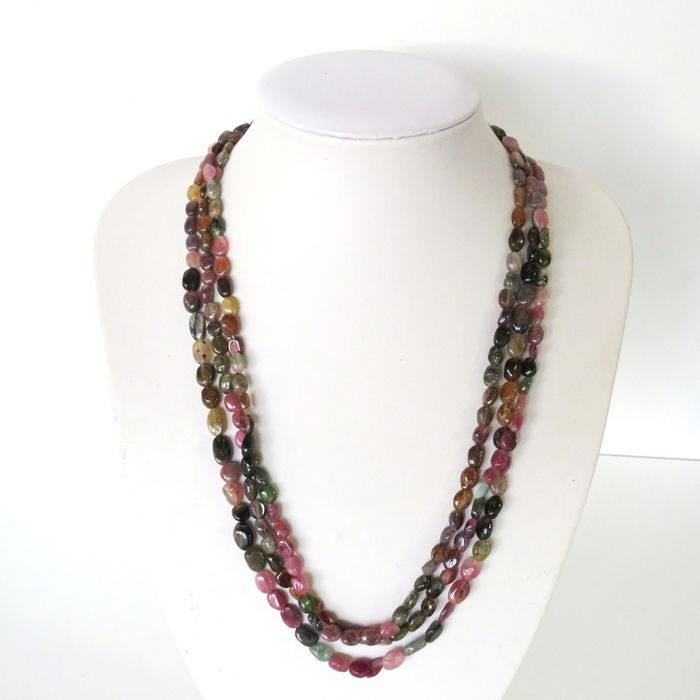 Tourmaline (group of silicate minerals) Necklace - 54×1.6×0.5 cm - 62 g