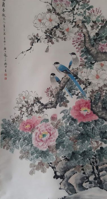 Ink painting - Chinese scroll painting on paper - 《颜伯龙-花鸟》Made after Yan Bolong - China - Late 20th century