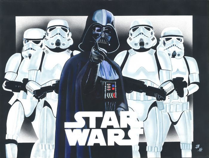 Star Wars - Darth Vader and Imperial Stormtroopers - Large Painting - Diego Septiembre - Original Acrylic Art