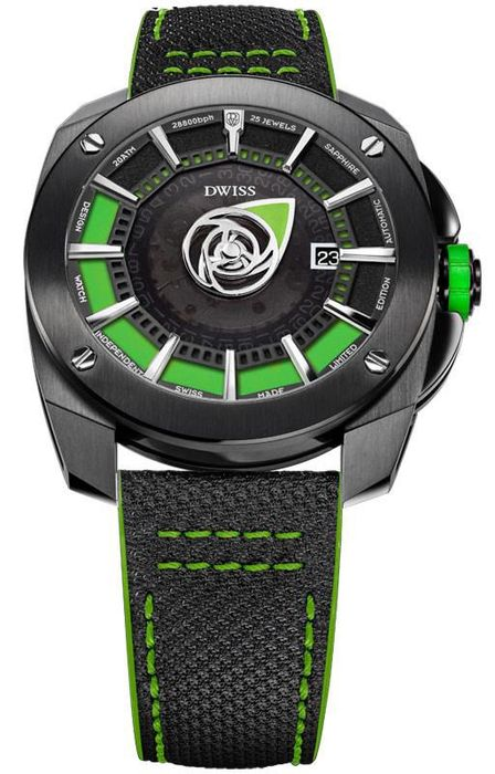 DWISS - Limited Edition Automatic Mysterious Time Collection Green and IP Black Stainless Steel Swiss Made - RS1-BG - Herren - Brand New