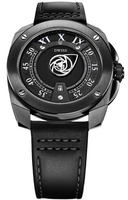 "DWISS - Automatic Signature Time Collection IP Black Leather Strap Top Grade Movement - RC1-BB ""NO RESERVE PRICE"" - Hombre - Brand New"