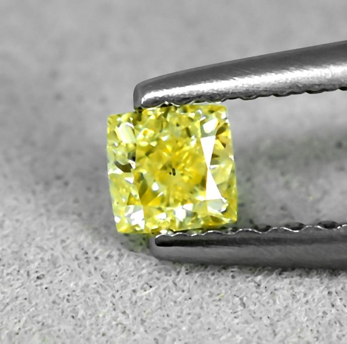 Diamant - 0.26 ct - Carré, Prinses - Fancy light brownish Yellow - I1 - NO RESERVE PRICE