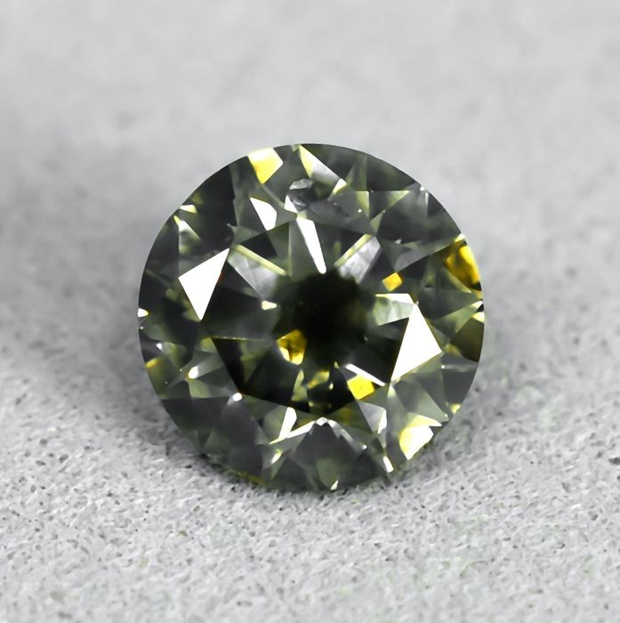 Diamant - 1.00 ct - Briljant - Natural Fancy Brownish Greenish Yellow - I2 - NO RESERVE PRICE - VG/VG/EXC
