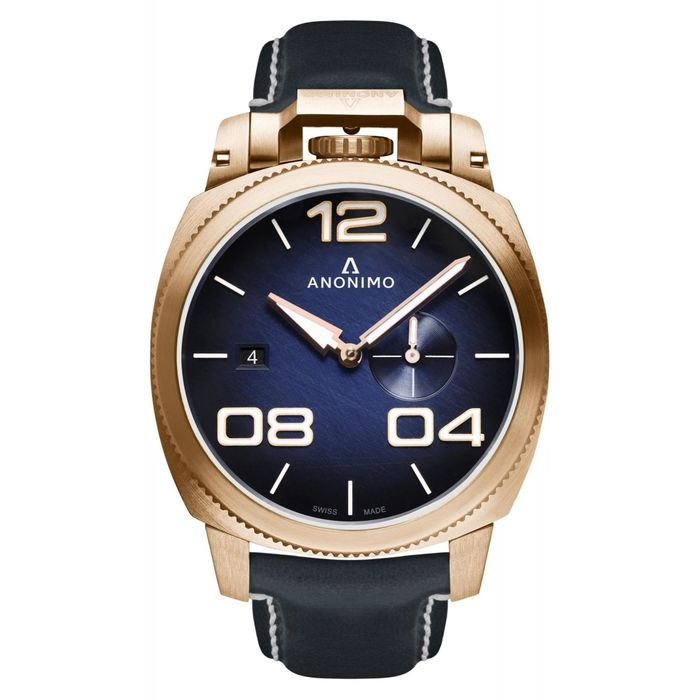Anonimo - Automatic Militare Bronze Navy Blue with Hand Made Italian Leather Strap - AM-1020.04.003.A03 - Heren - BRAND NEW