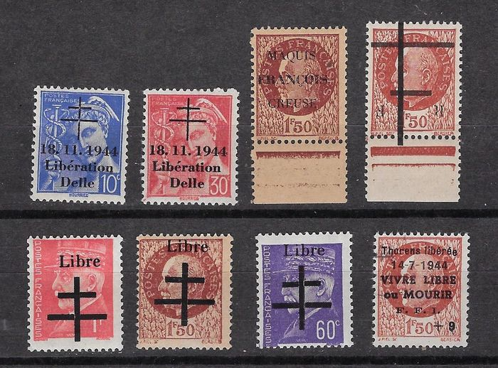 França 1944 - A lovely lot of stamps of the liberation - signed Calves.