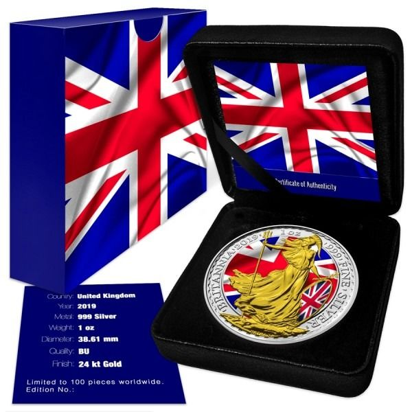 United Kingdom - 2 Pound 2019 Britannia Patriotic Flag Colorized - 1 Oz - Silver