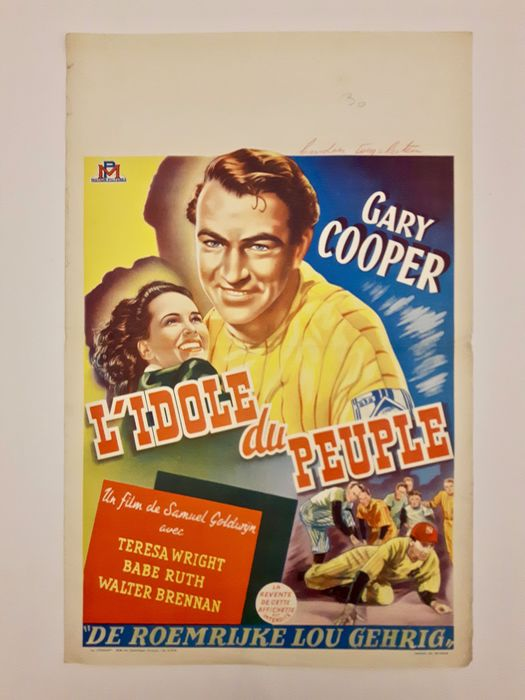 The Pride of the Yankees (1942) - Gary Cooper, Babe Ruth - Affisch, Original Belgian Cinema release