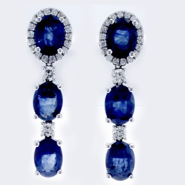 Lilo Diamonds - 14 carats Or blanc - Boucles d'oreilles - 9.35 ct Saphir - 0.69ct Diamonds D VVS - Certificat AIG