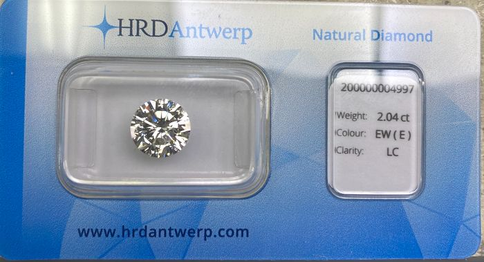 1 pcs Diamant - 2.04 ct - Brillant - E - IF (makellos), LC (lupenrein)