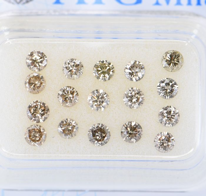17 pcs Diamant - 1.52 ct - Rund - Natural Fancy Mix Brown - SI1, SI2, ** No Reserve Price! **