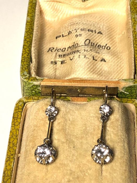 18 quilates Oro - Pendientes - 0,95 ct Diamante