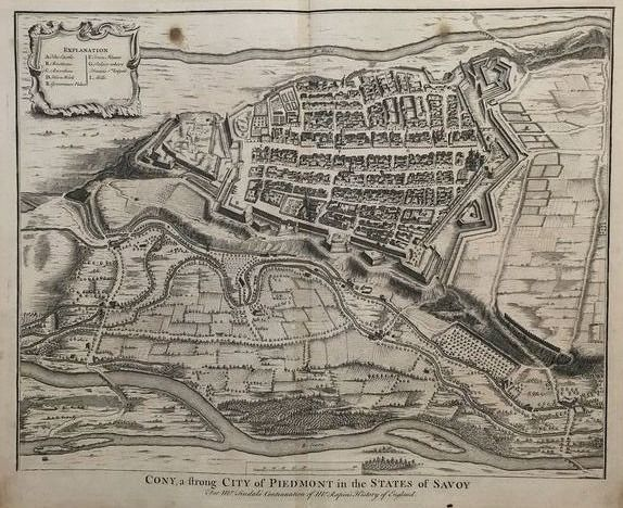 Italy, Piemonte, Cuneo; F. Basire - Contro, a stong city of Piedmont in the states of Savoy - 1701-1720