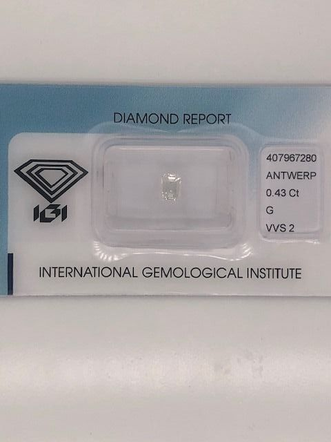 1 pcs Diamond - 0.43 ct - Emerald - G - VVS2