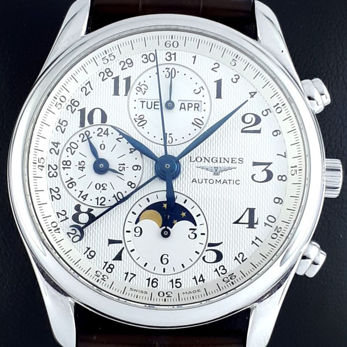 Longines - Master Collection Automatic Chronograph Moonphase Triple Date Transparent Case Back - L2.673.4 - Homem - 2000-2010