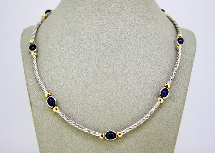 18 kt. White gold - Necklace - Cabochon sapphires