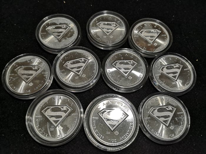 Canada - 5 Dollar 2016 Superman Shield - 10 x 1 Oz - Silver