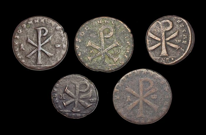 Roman Empire - Lot of 5 AE2/3's of Magnentius, Chi-Rho reverse