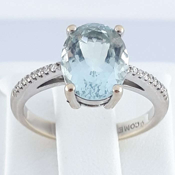 COMETE - 18 carats Or jaune - Bague - 2.25 ct Aquamarin - Diamant