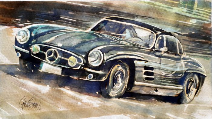 Original watercolor by Gilberto Gaspar - Mercedes Gullwing 300sl - Mercedes-Benz - Posterior a 2000