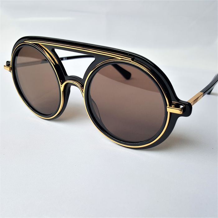 ill.i Optics by Will.i.am - Pilot Aviator Round Gold Black Double Bridge - 2020 - Made in Italy - New Sunglasses
