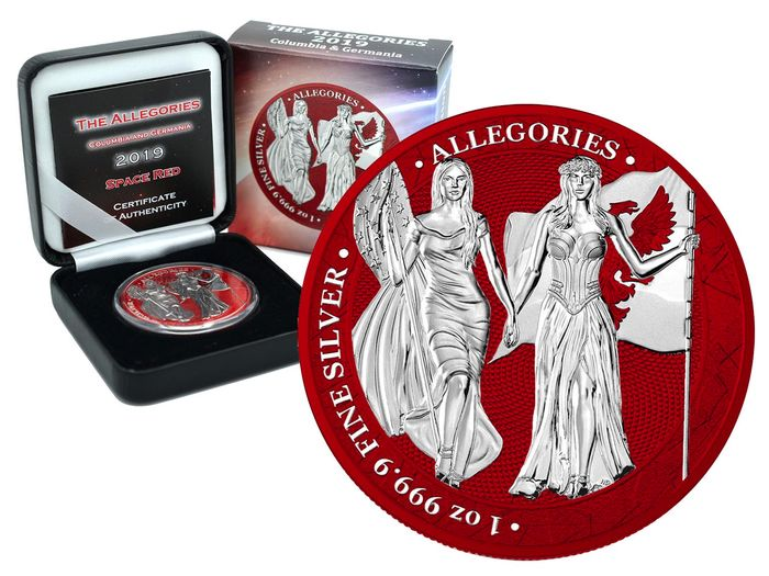 Germania. 5 Mark 2019- Allegories Columbia & Germania Space Red Edition - 1 Oz