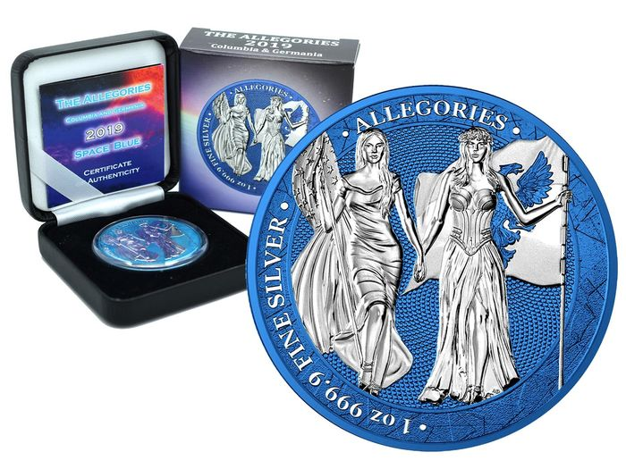 Germany - 5 Mark 2019- Allegories Columbia & Germania Space Blue Edition - 1 Oz - Silver
