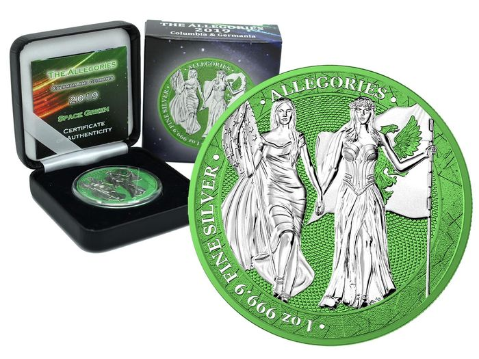 Germania. 5 Mark 2019- Allegories Columbia & Germania Green Space Edition - 1 Oz