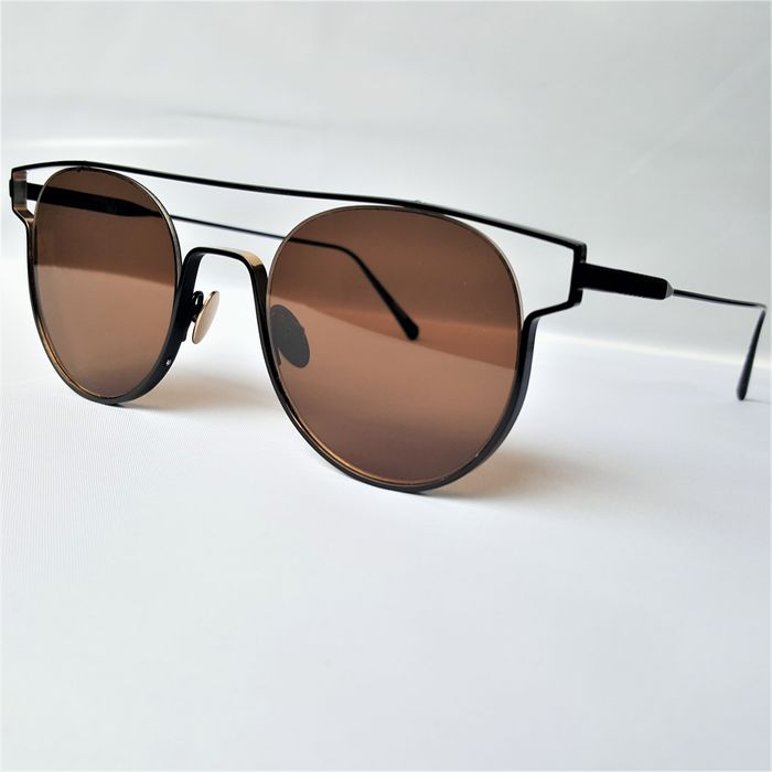 ill.i Optics by Will.i.am - Round Clubmaster Open Black Gold Titanium - 2020 - Made in Italy - New Sunglasses