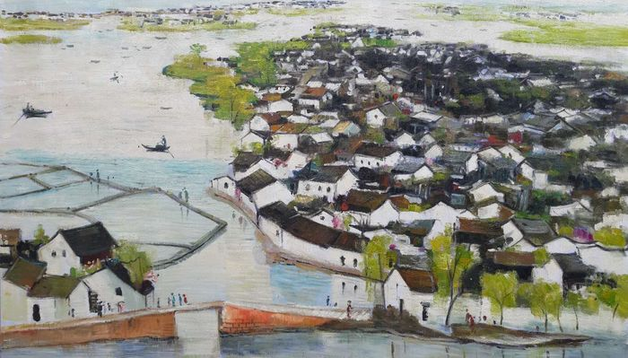 Oil painting - Canvas - 《吴冠中-鲁迅故乡》Made after Wu GuanZhong - China - 21st century