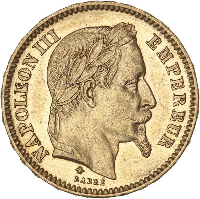 France - 20 Francs 1861-A Napoléon III - Or