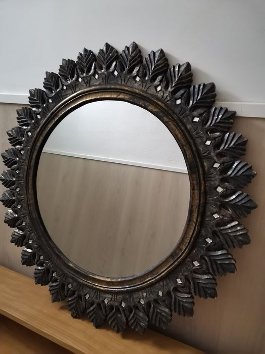 Large Round Mirror In Solid Wood Frame France Period Catawiki