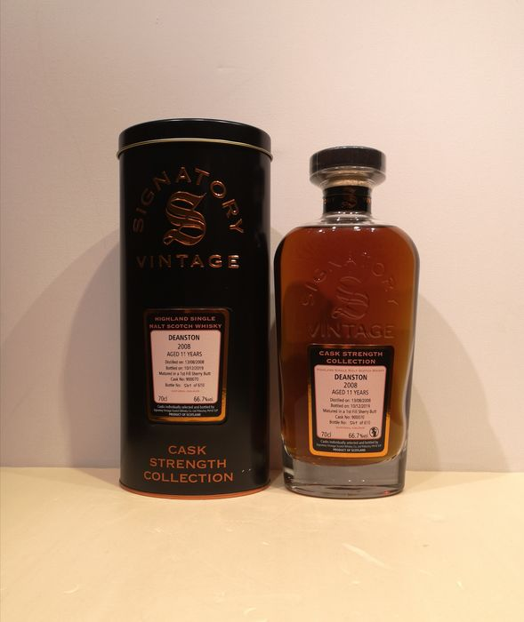 Deanston 2008 11 years old Cask Strength 1st Fill Sherry Butt Cask 900070 - Signatory Vintage - b. 2019 - 70cl