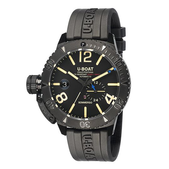 U-Boat - Sommerso Diver Watch Black DLC Silicone Strap - 9015 - Men - Brand New