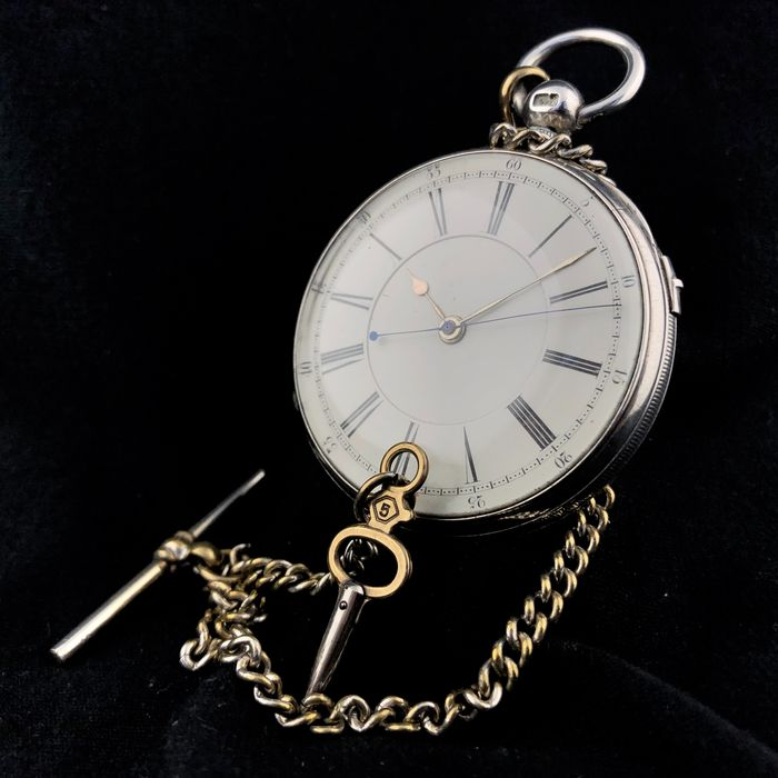 M. Thompson - Silver Pocket Watch Incl. Chain - NO RESERVE PRICE - Homem - 1850-1900