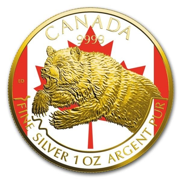Canada. 5 Dollars 2019 Grizzly Predator Series Canadian Flag Colorized 24k Gilded - 1 Oz