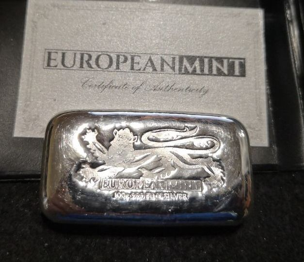 100 gramas - Prata .999 - Europeanmint English Lion - Certificado