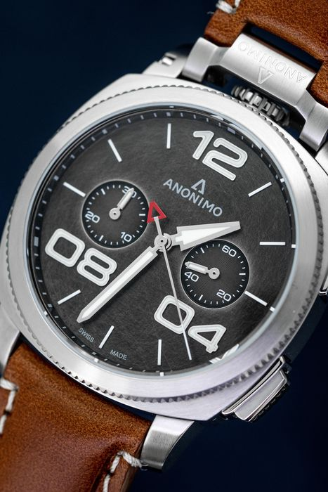 Anonimo - Automatic Militare Chronograph Steel Grey with Brown Leather Strap - AM-1120.01.002.A02 - Herren - BRAND NEW
