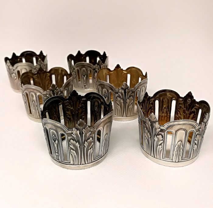Refined Set of Finely Chiseled Cup Holder (6) - .950 silver - Eugène Lefebvre - Paris - France - Late 19th century