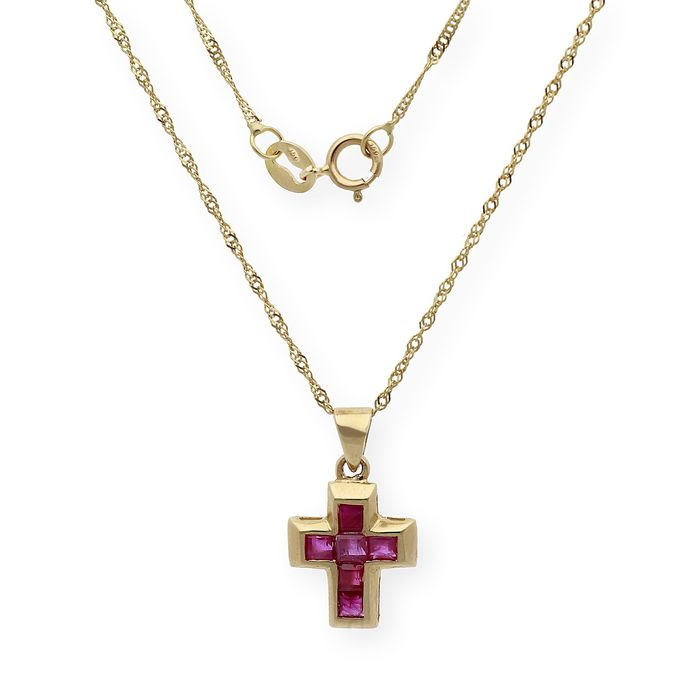 Image 3 of 18 kt. Gold - Necklace with pendant - 1.00 ct Ruby