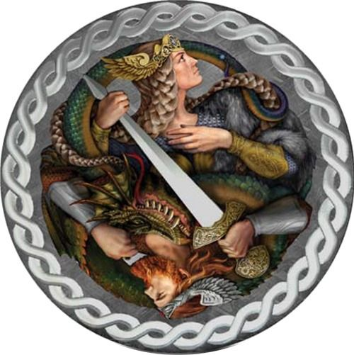 "Niue. 1 Dollar - 2019 - ""LEGEND OF NIBELUNGS"" - Iron - Meteorite Muonionalusta - 1 Oz"